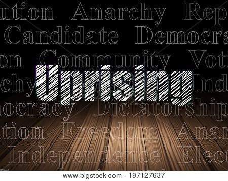 Politics concept: Glowing text Uprising in grunge dark room with Wooden Floor, black background with  Tag Cloud