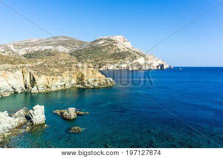 View of Agali coast Folegandros Island Cyclades Aegean Sea Greece during summer