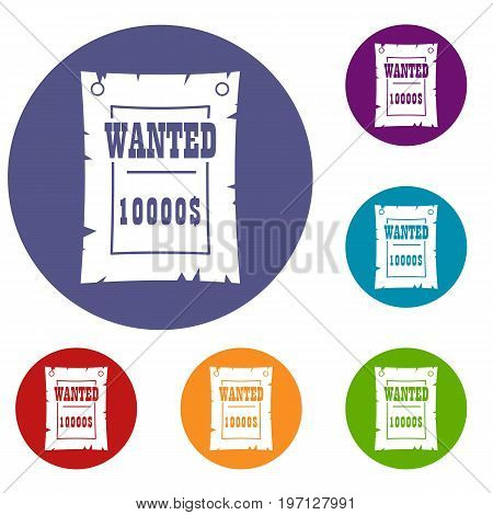Vintage wanted poster icons set in flat circle red, blue and green color for web