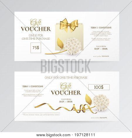 Vector set of elegant gift vouchers with hydrangea, paper shopping bag, golden bow and ribbon. Luxury template for gift cards, coupons and certificates with flowers. Isolated from the background.