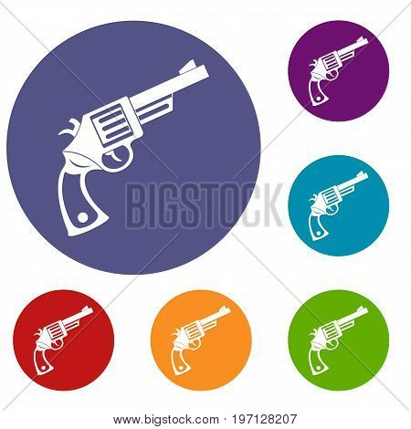 Vintage revolver icons set in flat circle red, blue and green color for web