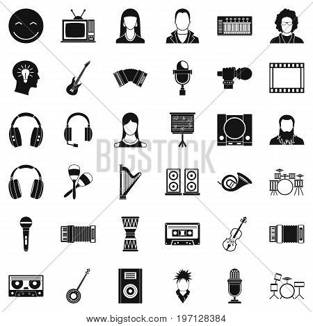 Play music icons set. Simple style of 36 play music vector icons for web isolated on white background