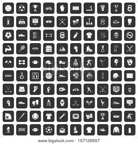 100 athlete icons set in black color isolated vector illustration