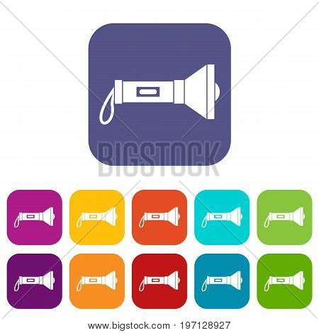 Lantern icons set vector illustration in flat style in colors red, blue, green, and other