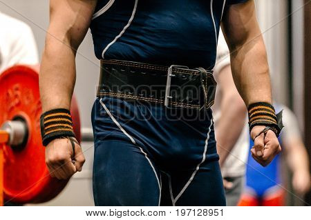 man body weightlifter belt for lifting and wrist wraps powerlifting