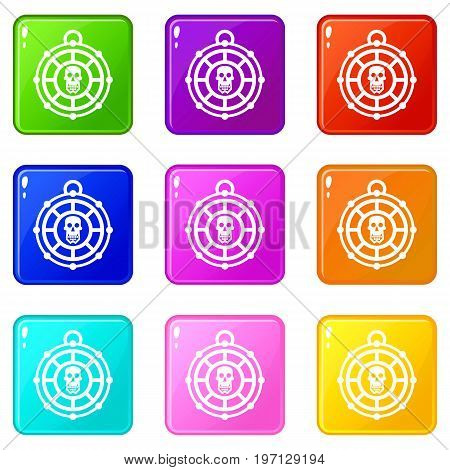 Pirate amulet icons of 9 color set isolated vector illustration
