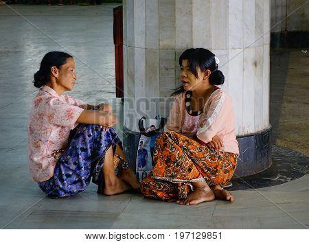 People At Railway Station In Mandalay, Myanmar
