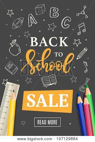 Back to School Sale Banner Template with Hand Drawn School Supplies Icons on Blackboard. Ink Modern Calligraphy and Doodles. Vector Illustration.