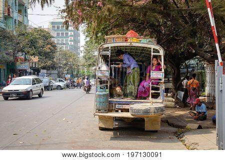 Traffic On Street In Mandalay, Myanmar