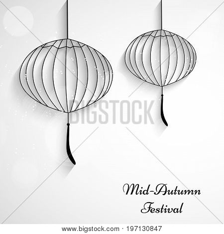 illustration of lanterns with Mid Autumn Festival Text on the occasion of Mid Autumn Festival