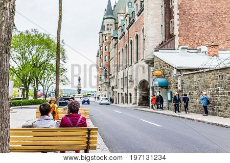 Quebec City, Canada - May 29, 2017: Old Town Street With View Of Hotel Chateau Frontenac With People
