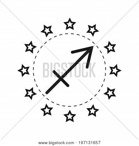 Sagittarius. Sign of the zodiac. Flat symbol horoscope and predictions. Vector object for design