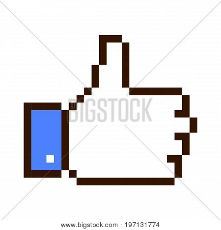 Thumb up pixel art cartoon retro game style set