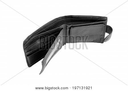 An empty opened leather wallet, isolated on a white background. Bankruptcy, poor, destitute, default, disaster concept. The unfilled purse.