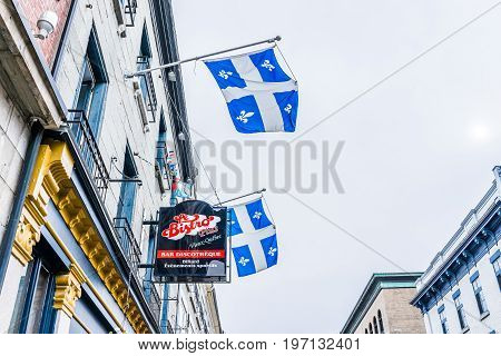Quebec City, Canada - May 29, 2017: Old Town Sainte Jean Street With Restaurant Called Bistro Plus W