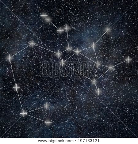 Sagittarius Constellation. Zodiac Sign Sagittarius Constellation Lines Galaxy Background