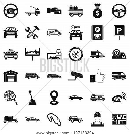 Rent car icons set. Simple style of 36 rent car vector icons for web isolated on white background