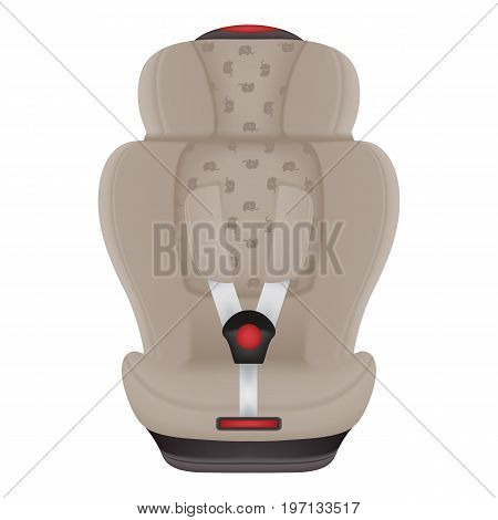 Beige Child Car Seat With Elephants Isolated On A White Background. Realistic Vector Illustration. Baby Car Seat