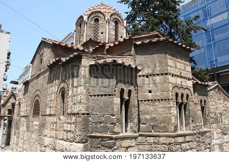 The Church of Panaghia Kapnikarea side view on Emrou street. Church of Panaghia Kapnikarea is a Greek Orthodox church and one of the oldest churches in Athens.