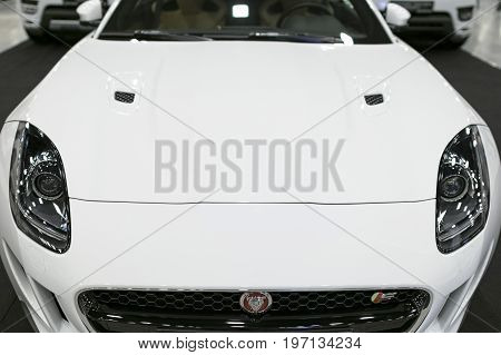 Sankt-Petersburg Russia July 21 2017: Front view of Jaguar F-Type coupe S 2017 . Car exterior details. Photo Taken on Royal Auto Show July 21