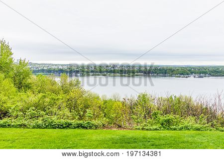Cityscape Or Skyline Of Levis Town From Plaines D'abraham In Summer In Quebec City, Canada Overlooki
