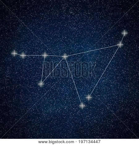 Capricorn Constellation. Zodiac Sign Capricorn Constellation Lines Galaxy Background