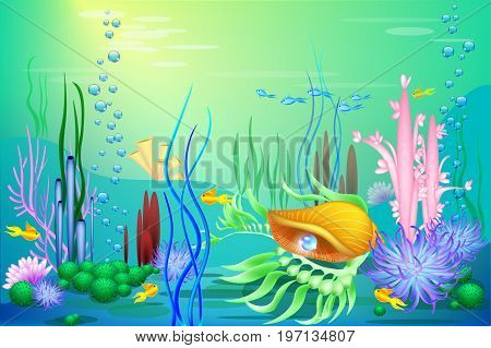 Undersea world with golden seashell, fish and pearls. Marine trasure for games and sites. diving attraction