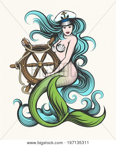 Beauty blue haired siren mermaid in captain hat holds steering wheel in her hands. Colorful Vector illustration in tattoo style.