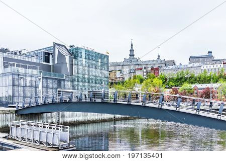 Quebec City, Canada - May 30, 2017: Old Port Area With Cityscape View Of Seminary, Modern Buildings