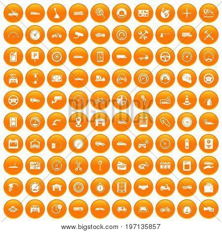100 garage icons set in orange circle isolated on white vector illustration