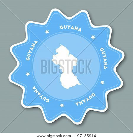 Guyana Map Sticker In Trendy Colors. Star Shaped Travel Sticker With Country Name And Map. Can Be Us