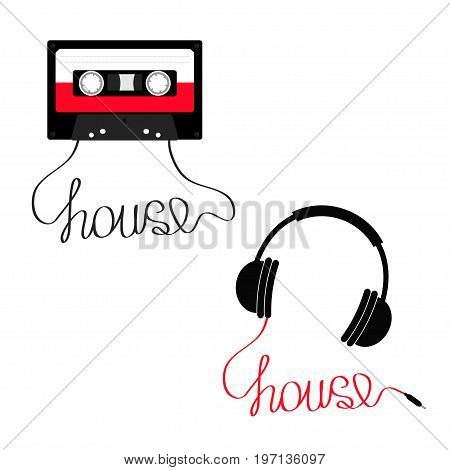 Plastic audio tape cassette Earphones Headphones with cord House. Music set. Retro icon. Recording element. 80s 90s years. Red color template. Flat design White background Isolated Vector illustration