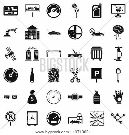 Repair auto icons set. Simple style of 36 repair auto vector icons for web isolated on white background