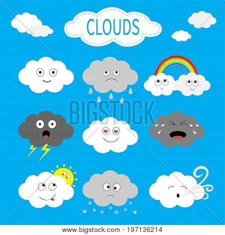 Cloud emoji icon set. White gray color. Fluffy clouds. Sun rainbow rain drop wind thunderbolt storm lightning. Cute cartoon cloudscape. Different emotion. Flat design. Blues sky background Vector