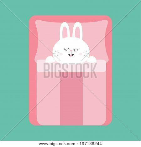 Sleeping rabbit bunny. Baby pet animal collection for kids. Cute cartoon character. Bed pink blanket and pillow. Green background. Isolated. Flat design. Vector illustration
