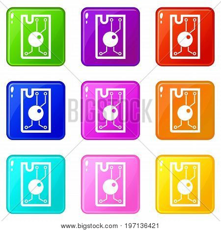 Processor chip icons of 9 color set isolated vector illustration