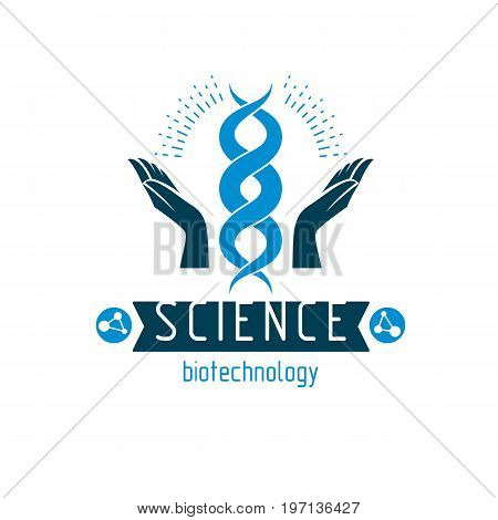 Caring hands hold a model of human DNA. Bioengineering as the direction of genetics abstract vector scientific symbol best for use in education science and humanity evolution research.