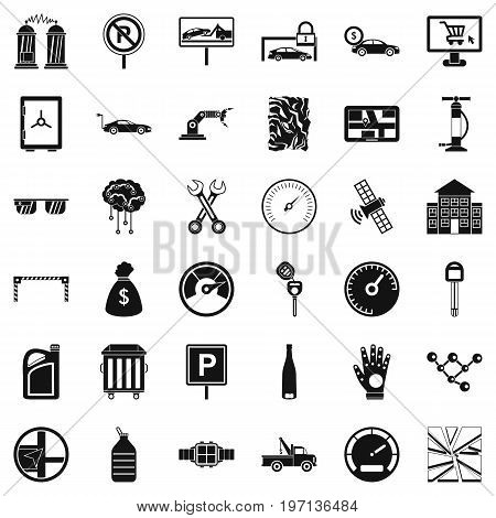 Mechanic car icons set. Simple style of 36 mechanic car vector icons for web isolated on white background