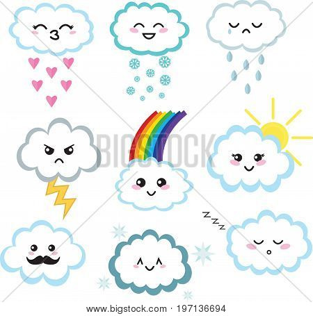 Collection of nine cute kawaii clouds. Clouds with different expressions.