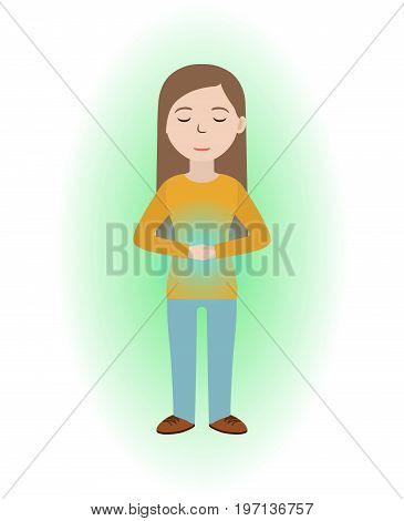Energetic healing. Girl heal herself with energy field. Pranic healing. Alternative medicine concept. Vector illustration.