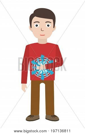 Energetic healing. Man heal himself with energy field. Pranic healing. Alternative medicine concept. Vector illustration.