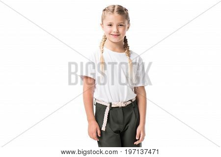 Portrait Of Happy Blonde Preteen Girl Smiling At Camera Isolated On White