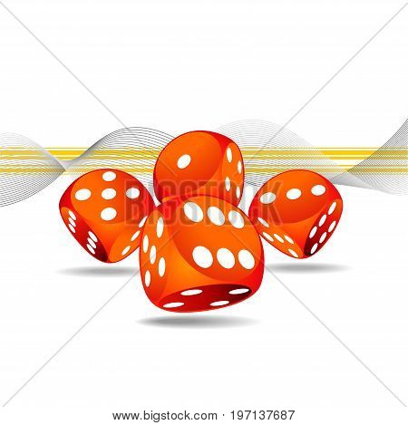 Vector gambling illustration with four red dice