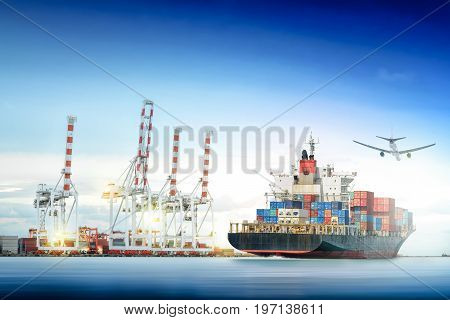 Logistics and transportation of Container Cargo ship and Cargo plane with working crane bridge in shipyard background logistic import export background and transport industry.