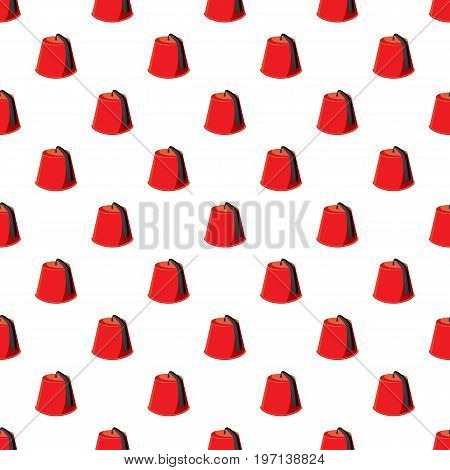 Turkish hat, fez pattern seamless repeat in cartoon style vector illustration