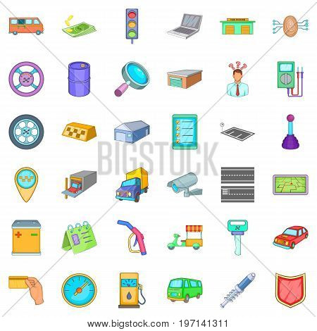 Auto mechanic icons set. Cartoon style of 36 auto mechanic vector icons for web isolated on white background