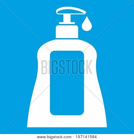 Body care lotion icon white isolated on blue background vector illustration