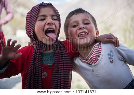 HUNZA, PAKISTAN - APRIL 14: unidentified Children in a village of the Hunza, April 14, 2014 in Hunza, Pakistan with a population of more than 150 million people.