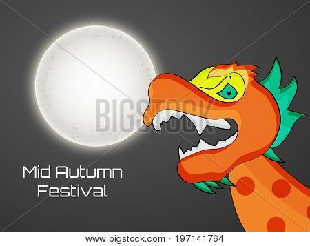 illustration of moon and dragon with Mid Autumn Festival text on the occasion of Mid Autumn Festival