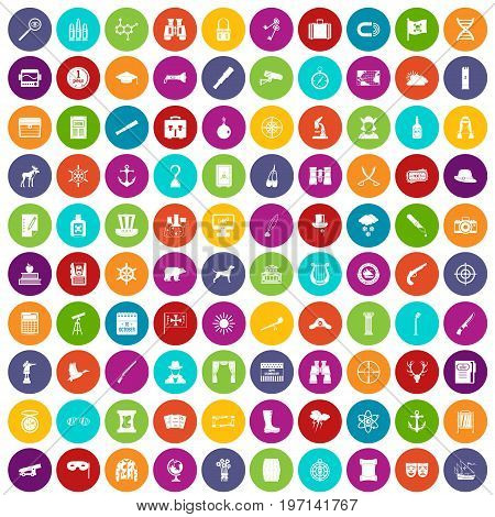100 binoculars icons set in different colors circle isolated vector illustration